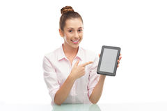 Young woman holding digital tablet Royalty Free Stock Photos