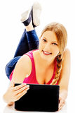 Young woman holding a digital tablet. Royalty Free Stock Photos