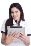Young Woman Holding Digital Tablet Royalty Free Stock Images