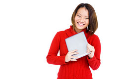 Young woman holding digital tablet Stock Photos