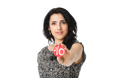 Young woman holding discount symbol in her arms Stock Photography