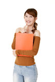 Young woman holding document Royalty Free Stock Image