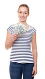 Young woman holding 400 dollar Stock Photos