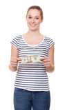 Young woman holding 20 dollar Stock Image