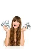 Young woman holding dollar bills Stock Photos