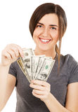Young woman holding dollar bills Stock Photography