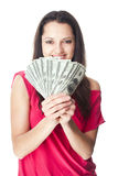 Young woman holding a dollar bills Stock Photography