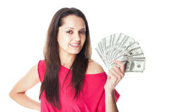 Young woman holding a dollar bills. Portrait of pretty young smiling woman holding a dollar bills isolated on white background Stock Image