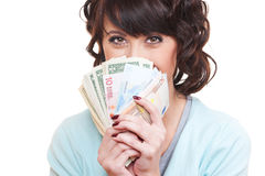 Young woman holding dollars and euro Stock Image