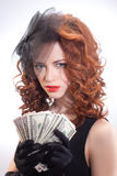 Young woman holding dollars money Stock Photography