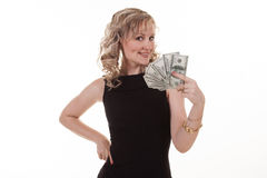 Young woman holding dollars Royalty Free Stock Photo