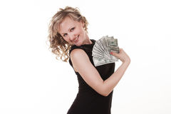 Young woman holding dollars Stock Photography