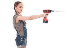 Young woman holding drill with auger Royalty Free Stock Images