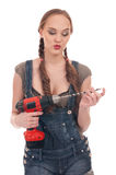 Young woman holding drill with auger Royalty Free Stock Photography