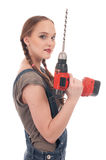 Young woman holding drill with auger Stock Image