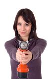 Young woman holding an drill, isolated Stock Photography