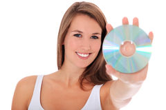 Young woman holding dvd Stock Photo