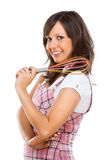 Young woman holding egg beater Royalty Free Stock Photography