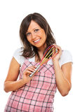 Young woman holding egg beater Royalty Free Stock Photo