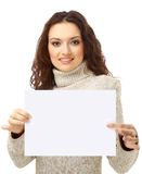 Young woman holding an empty Stock Image