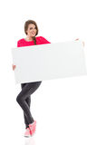 Young woman holding empty banner Royalty Free Stock Photo