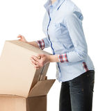 Young woman holding empty cardboard boxes Royalty Free Stock Image