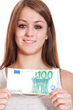 Young woman holding 100 euro Royalty Free Stock Photography