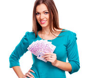 Young woman holding Euro bills Stock Image