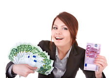 Young woman holding euro money. royalty free stock images