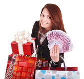 Young woman holding euro money and gift box,. Stock Photos
