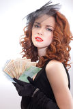 Young woman holding euro money Royalty Free Stock Photos