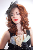 Young woman holding euro money Royalty Free Stock Photo