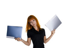Young woman holding files Royalty Free Stock Photos