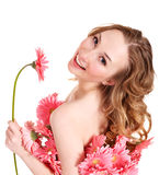 Young woman holding flower. Stock Image