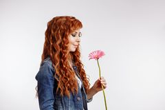 Young woman holding flower on white background stock photos
