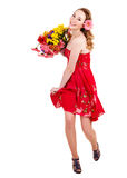 Young woman holding flowers. Stock Photo