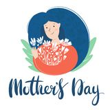 Young woman holding flowers. Mother`s day card or international women`s day, Lettering text stock illustration