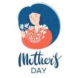 Young woman holding flowers. Mother`s day greeting card, Lettering text royalty free illustration