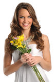 Young Woman Holding Flowers Royalty Free Stock Image