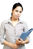 Young woman holding folder Royalty Free Stock Images