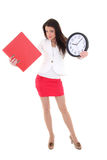 Young woman holding folder and clock Royalty Free Stock Images