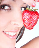 Young woman  are holding fresh strawberry Stock Photos