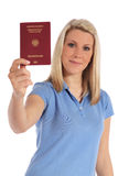 Young woman holding german passport Royalty Free Stock Images