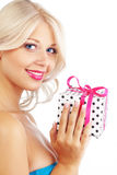 Young woman holding gift Stock Photos