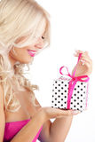 Young woman holding gift Stock Image