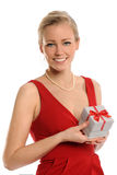 Young Woman Holding Gift Box Stock Photos