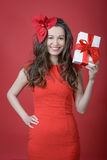 Young woman holding Gift box Royalty Free Stock Photography