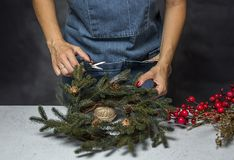 Young woman holding gift box. Christmas days, preparing the decoration Royalty Free Stock Photos
