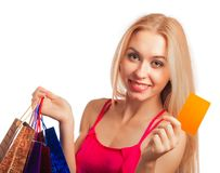 Young woman holding gift  card Stock Photos