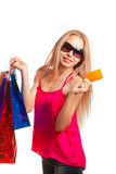 Young woman holding gift  card Stock Images